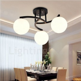 3 Light Rustic/Lodge LED Integrated Living Room,Dining Room,Bed Room E27 Chandeliers with Glass Shade