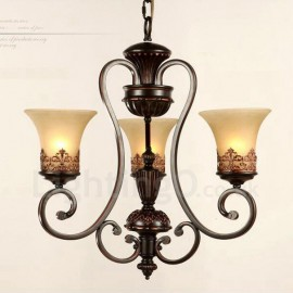 3 Light Rustic/Lodge LED Integrated Living Room,Dining Room,Bed Room Metal Chandeliers