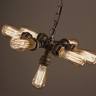 American Industrial Water Pipe, Retro style, Wind, Bar, Bar 7 Light Pendant Chandeliers