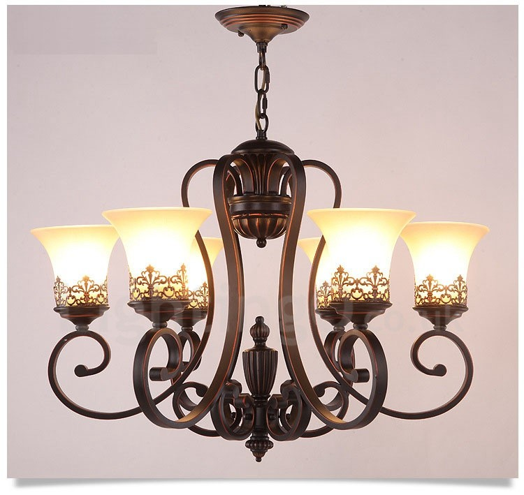 Rustic Chandeliers For Dining Room: 6 Light Rustic/Lodge LED Integrated Living Room,Dining