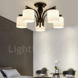 5 Light Country LED Integrated Living Room,Dining Room,Bed Room E27 Metal Chandeliers with Glass Shade