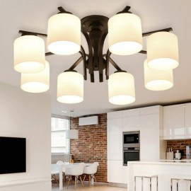 8 Light Country LED Integrated Living Room,Dining Room,Bed Room E27 Metal Chandeliers with Glass Shade