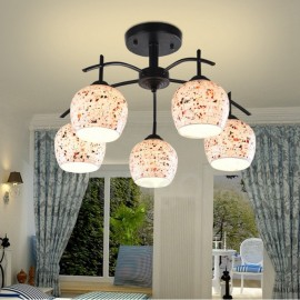 5 Light Mediterranean Style LED Integrated Living Room,Dining Room,Bed Room E27 Chandeliers with Glass Shade