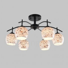 6 Light Mediterranean Style LED Integrated Living Room,Dining Room,Bed Room E27 Chandeliers with Glass Shade
