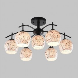 7 Light Mediterranean Style LED Integrated Living Room,Dining Room,Bed Room E27 Chandeliers with Glass Shade