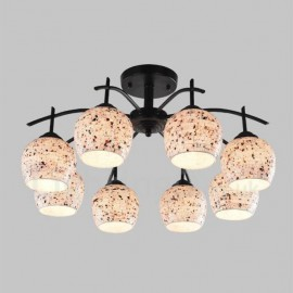 8 Light Mediterranean Style LED Integrated Living Room,Dining Room,Bed Room E27 Chandeliers with Glass Shade