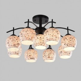 9 Light Mediterranean Style LED Integrated Living Room,Dining Room,Bed Room E27 Chandeliers with Glass Shade