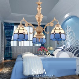 3 Light Mediterranean Style LED Integrated Living Room,Dining Room,Bed Room Metal Chandeliers with Glass Shade