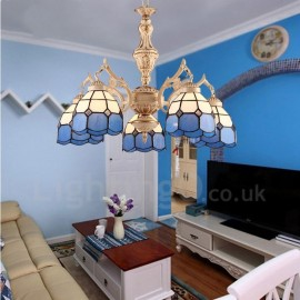 5 Light Mediterranean Style LED Integrated Living Room,Dining Room,Bed Room Metal Chandeliers with Glass Shade
