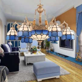 9 Light Mediterranean Style LED Integrated Living Room,Dining Room,Bed Room Metal Chandeliers with Glass Shade