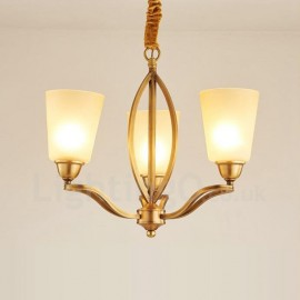 3 Light Rustic/Lodge LED Integrated Living Room,Dining Room,Bed Room Metal Copper Chandeliers