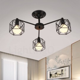 3 Light Rustic/Lodge LED Integrated Living Room,Dining Room,Bed Room E27 Chandeliers