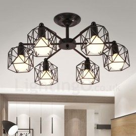 6 Light Rustic/Lodge LED Integrated Living Room,Dining Room,Bed Room E27 Chandeliers