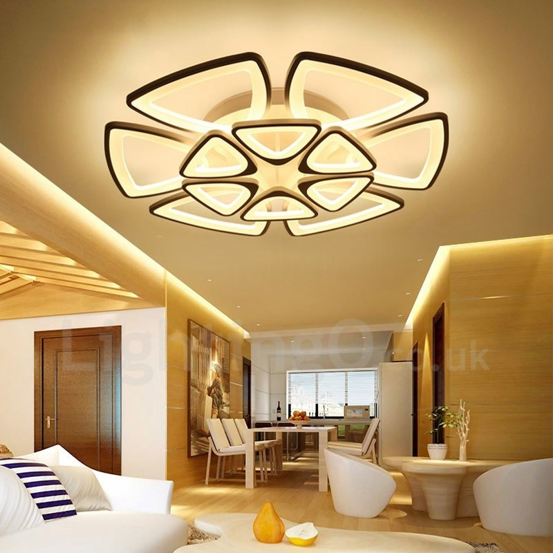 12 Light Modern Contemporary Led Integrated Living Room Dining Room Bed Room Flush Mount Lightingo