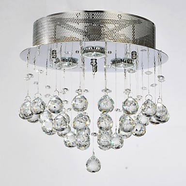 MAX 50W Traditional/Classic Crystal Chrome Metal Flush Mount Living Room / Bedroom / Dining Room / Study Room/Office / Hallway