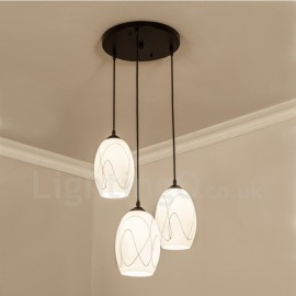 3 Light Rustic/Lodge LED Integrated Living Room,Dining Room,Bed Room Metal Pendant Lights