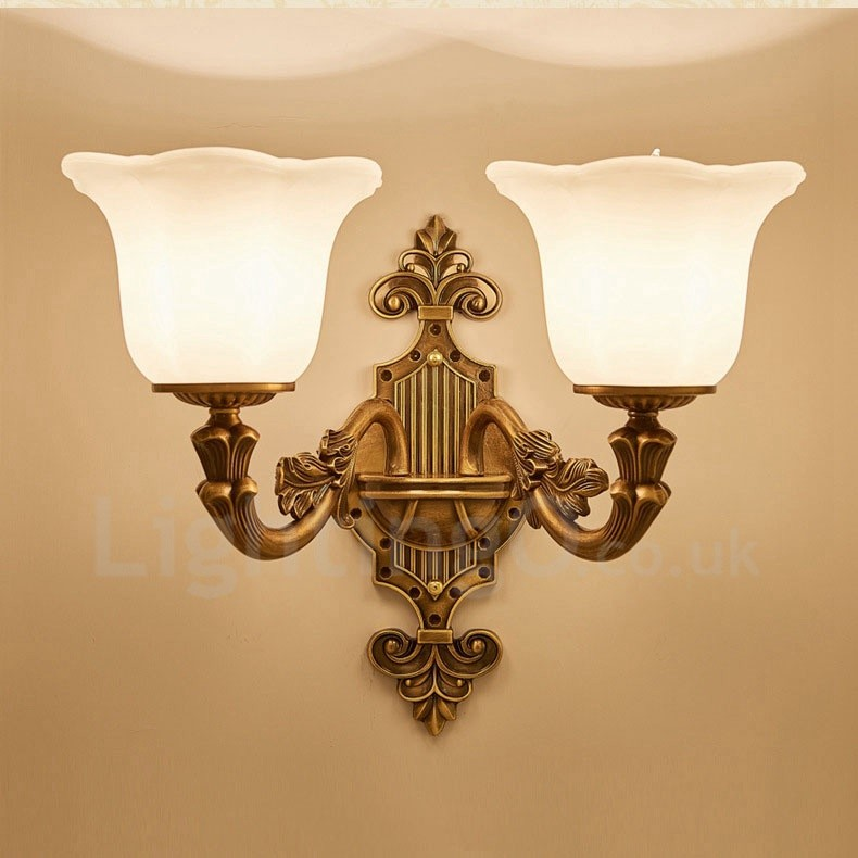 2 Light Traditional Classic Led Integrated Living Room Dining Room Bed Room Metal Luxury Indoor Wall Sconces