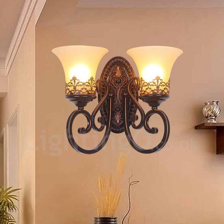 Dining Room Wall Sconces: 2 Light Rustic/Lodge LED Integrated Living Room,Dining