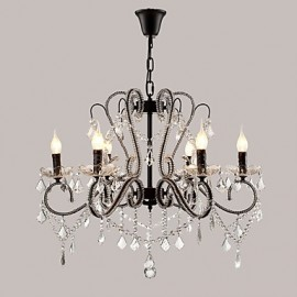 6 Lights Crystal Chandelier Modern/Contemporary Traditional/Classic Rustic/Lodge Vintage Retro Country Painting Feature for LED Metal