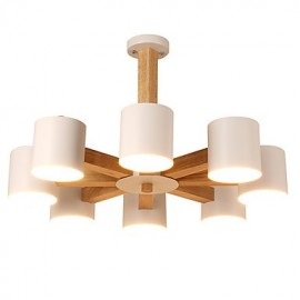 8 Lights Chandelier Modern/Contemporary Traditional/Classic Vintage Country Wood Feature for LED Wood Living Room Bedroom Dining Room