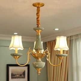 All Copper Chandelier Jade Decorative Living Room Chandelier OP0