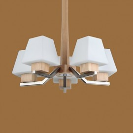 Modern/Contemporary Electroplated Feature for LED Wood/Bamboo Living Room Bedroom Dining Room Kitchen Study Room/Office Chandelier