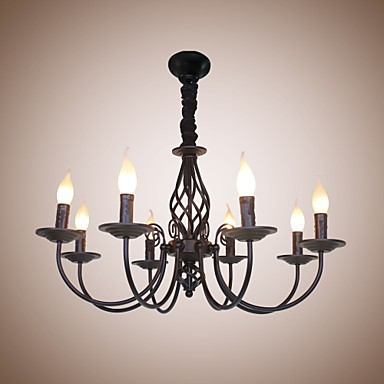 European Simple Iron Living Room Dining Room Lamp Candle
