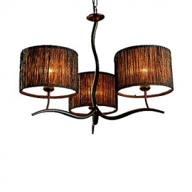 3 Light Traditional/Classic Chandelier with Simple Fabric Drum Shade