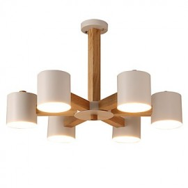 6 Lights Chandelier Modern/Contemporary Traditional/Classic Vintage Country Wood Feature for LED Wood Living Room Bedroom Dining Room