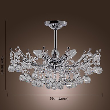 Luxuriant Crystal Chandelier with 6 Lights Pendant Chandeliers
