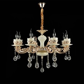 Traditional/Classic Zinc Alloy Feature for Crystal Mini Style Metal Living Room Bedroom Study Room/Office 8 Bulbs Chandelier