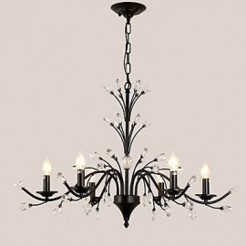 6 Lights Crystal Chandelier Modern/Contemporary Traditional/Classic Tiffany Vintage Retro Country Painting Feature for Living Room