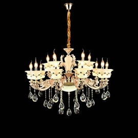 Traditional/Classic Zinc Alloy Feature for Crystal Mini Style Metal Indoors Garden Hallway 15 Bulbs Chandelier