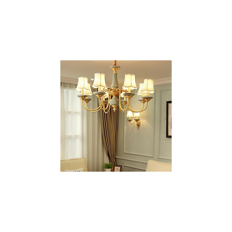 All copper chandelier jade decorative living room for Living room chandelier