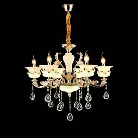 Traditional/Classic Zinc Alloy Feature for Crystal Mini Style Metal Living Room Bedroom Study Room/Office 6 Bulbs Chandelier