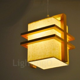 1 Light Wood Retro / Vintage Pendant Lights with Fabric Shade for Bathroom,Living Room,Study,Kitchen,Bedroom,Dining Room,Bar