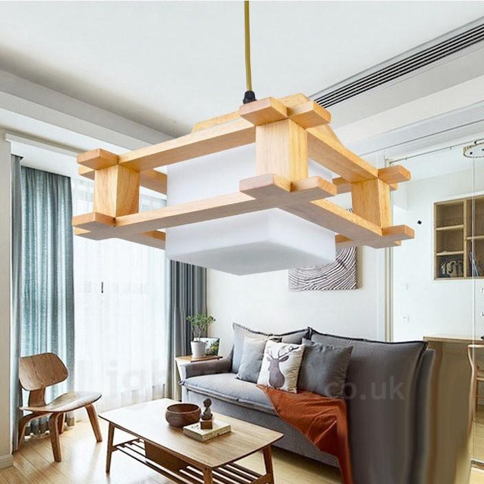 1 Light Wood Modern / Contemporary Nordic style Pendant ...