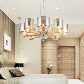 8 Light Wood Modern / Contemporary Nordic style Pendant Lights with Glass Shade for Living Room,Dining Room,Study,Bedroom,Bar