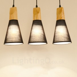 3 Light Wood Modern / Contemporary Pendant Lights with Fabric Shade for Bathroom,Living Room,Study,Kitchen,Bedroom,Dining Room,Bar