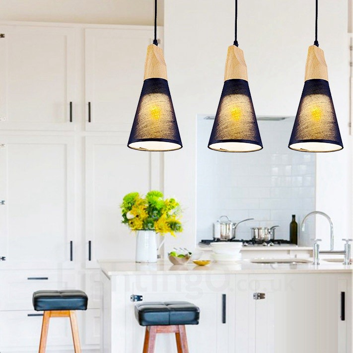 3 Light Wood Modern / Contemporary Pendant Lights With