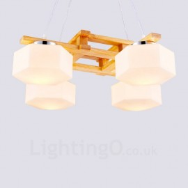 4 Light Wood Modern / Contemporary Nordic style Pendant Lights with Glass Shade for Bathroom,Living Room,Study,Kitchen,Bedroom,Dining Room,Bar