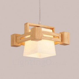 1 Light Wood Modern / Contemporary Nordic style Pendant Lights with Fabric Shade for Bathroom,Living Room,Study,Kitchen,Bedroom,Dining Room,Bar