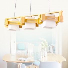 3 Light Wood Modern / Contemporary Nordic style Pendant Lights with Fabric Shade for Bathroom,Living Room,Study,Kitchen,Bedroom,Dining Room,Bar