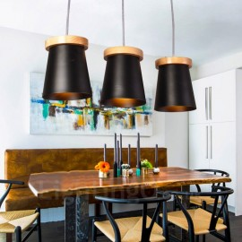 3 Light Wood Modern / Contemporary Nordic style Pendant Lights with Iron Shade for Living Room,Dining Room,Study,Bedroom,Bar