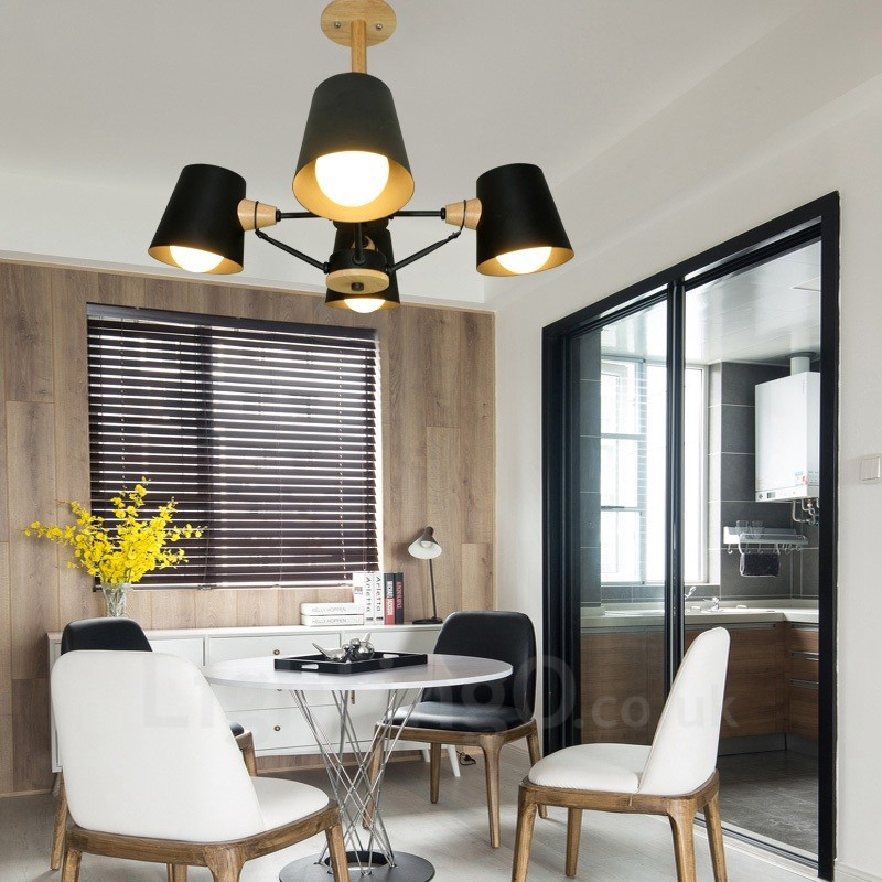 Light Filled Contemporary Living Rooms: 4 Light Wood Modern / Contemporary Nordic Style Pendant