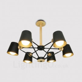6 Light Wood Modern / Contemporary Nordic style Pendant Lights with Iron Shade for Living Room,Dining Room,Study,Bedroom,Bar