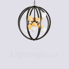 6 Light Iron Retro / Vintage Pendant Lights with Iron Shade for Living Room,Dining Room,Study,Bedroom,Bar