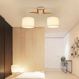 2 Light Wood Modern / Contemporary Pendant Lights with Fabric Shade for Living Room,Dining Room,Study,Bedroom,Bar