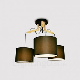 3 Light Wood Modern / Contemporary Pendant Lights with Fabric Shade for Living Room,Dining Room,Study,Bedroom,Bar
