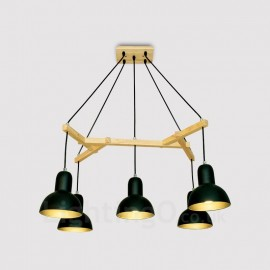 5 Light Wood Modern / Contemporary Pendant Lights with Iron Shade for Living Room,Dining Room,Study,Bedroom,Bar